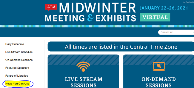 screenshot of 2021 ALA Midwinter Virtual Meeting homepage