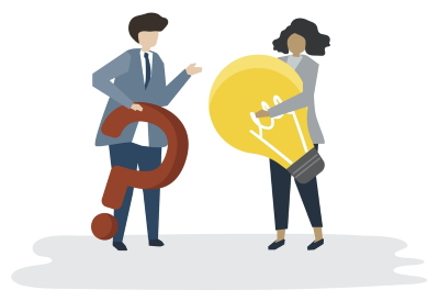 illustration of one person holding a question mark talking to another person holding a light bulb
